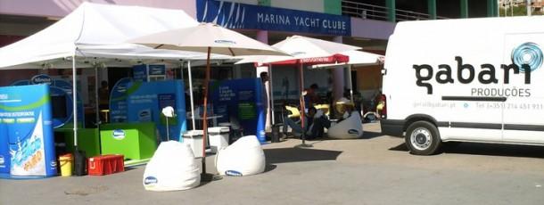 Ativação de marca pelas praias do Algarve.Aluguer equipamentos, Implementação, Logística e Armazenamento.